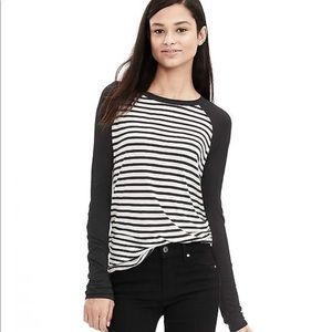 Tops - Banana Republic Black and White Stripe Tee. Size M